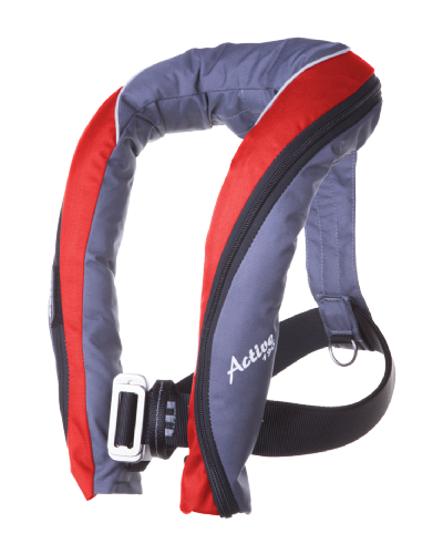 Seago Active 190N Lifejacket AUTOMATIC HARNESS Grey Red and Grey Navy